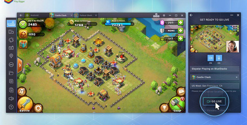 Bluestacks adds the ability to stream gameplay live right to Twitch with their launch of Bluestacks TV