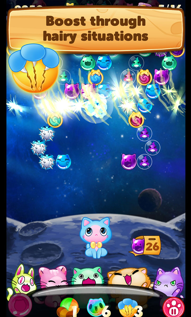 The classic bubble shooter type of game gets kittenized in Kitty Pawp, now available on Google Play