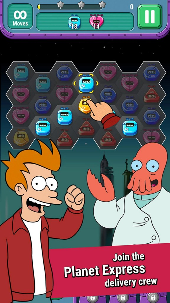 Futurama: Game of Drones is a match-4 puzzle game that is now available globally