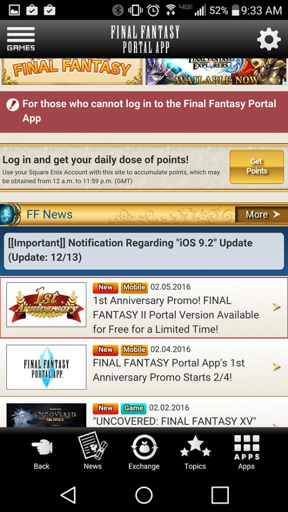 Final Fantasy 2 is now available for free for a limited time through the Final Fantasy Portal app