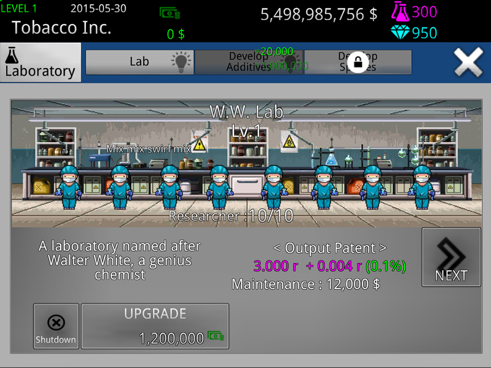 Tobacco Inc is a (strange) new sim game where you're in charge of a tobacco company